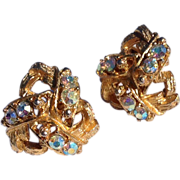 Vintage Gold Tone Metal Aurora Borealis Rhinestone Earrings