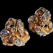 Vintage Gold Tone Metal Aurora Borealis Rhinestone Earrings
