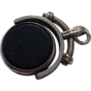 Victorian Gold Filled  Blood Stone  Agate Spinner Watch Fob Charm