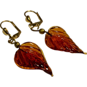 Vintage Gold Filled Amber Glass Dangle Earrings