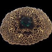 REDUCED Czech Filigree Gilded Brass Emerald Green Glass Brooch