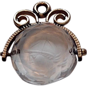 REDUCED Victorian Gold Filled Crystal Quartz Spinning Intaglio Seal Watch Fob