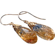 REDUCED Spun Gold Rutilated Quartz 14 K Gold Dangle Earrings