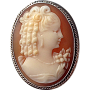 SOLD Vintage 14 K & Sterling Carved Cameo Ring