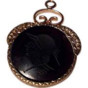 Vintage Gold Filled Intaglio Watch Fob Charm
