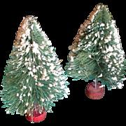 "Pair Vintage Flocked Bottle Brush 6"" Christmas Trees"