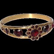 Vintage Gold Filled Faux Garnet Bangle Bracelet