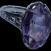REDUCED Vintage 14 K White Gold Filigree Amethyst Ring