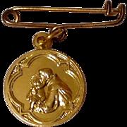 Vintage Gold Tone Metal St. Anthony Of Padua Medal