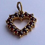 REDUCED Vintage 14 K Gold Bohemian Garnet Heart Pendant