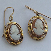 Vintage Gold Filled Cameo Dangle Earrings