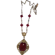 Art Deco Czechoslovakia Brass & Faux Carnelian Glass Necklace