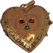 REDUCED Victorian 14 K Gold Puffy Heart Double Photo Locket