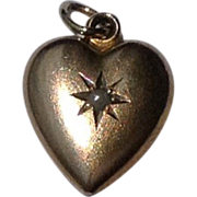 Vintage 10 K Gold Pearl Puffy Heart Pendant Charm