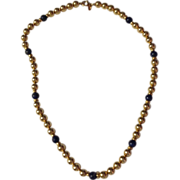 Vintage  12 K Gold Filled & Lapis Bead Necklace