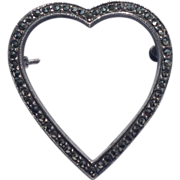 REDUCED Vintage Sterling Silver Marcasite Heart Brooch