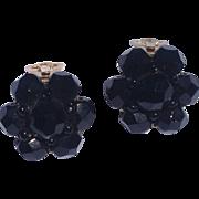 Vintage Faux Black Jet Clip Earrings