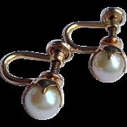 Vintage 12 K Gold Filled Cultured Pearl Earrings