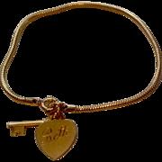 REDUCED Vintage Forstier 12 K Gold Filled Key To My Heart Bracelet