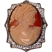REDUCED Vintage Sterling Silver Cameo Brooch Pendant