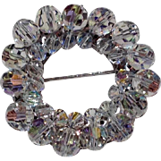 REDUCED Vintage Clear Aurora Borealis Beaded Pin
