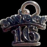 Vintage Sterling Silver Sweet 16 Charm