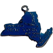 Vintage Sterling Silver Enameled New York State Charm