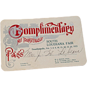 Vintage 1923 Complimentary Pass South Louisiana Fair