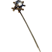 Vintage Gold Tone Metal Paste Rhinestone Stick Pin