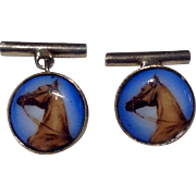 English Sterling Silver Reverse Painted Horse Head Cuff Links