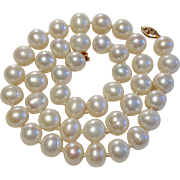 REDUCED Vintage Cultured Freshwater 10 MM Pearl Necklace