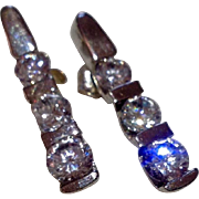 Vintage Sterling Silver Swarovski Crystal Dangle Earrings