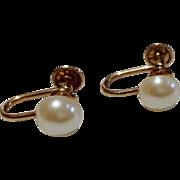 Vintage 1/20 12 K Gold Filled Faux Pearl Earrings