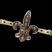 REDUCED Vintage 14 K Gold Fleur D Lis & Seed Pearl Brooch