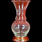 """Vintage Etched Glass Copper Base 5 1/2"""" Vase"""