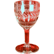 """Vintage Etched Glass Sherry Glass 4 1/2"""" Tall"""