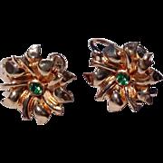 Vintage 12 K Gold Filed Screw On Floral Earrings