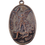 Unusual Large St Michael Catholic Bronze Tone Medal