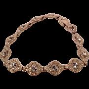 Vintage Silvertone Metal Rhinestone Bracelet