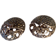 Vintage Sterling Silver Marcasite Clip Earrings