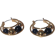 Vintage Gold Tone Medal Faux Black Onyx & Gold Bead Hoop Earrings