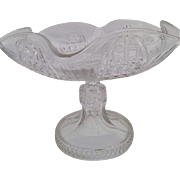 Vintage footed cut glass compote with etching