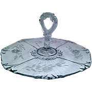Beautiful Vintage etched glass sandwich tray, with flower etching