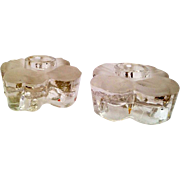 Vintage Frosted Glass Dogwood Candle holders