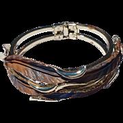 REDUCED Unusual Gold Tone Tri - Color  Clamper Bracelet