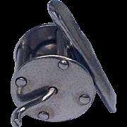 Vintage Sterling Silver Fishing Reel Charm
