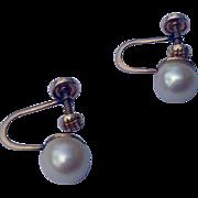 Vintage 14K Gold Genuine Pearl Earring