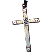 Vintage Gold Filled Cross With Genuine Diamond