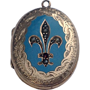 Victorian  Gold Filled Enamel Fleur D Lis Mourning Locket