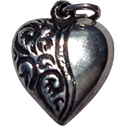 Vintage Sterling Silver Puffy Repousse Heart Charm